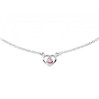Zilver hartje roze zirconia - 86288
