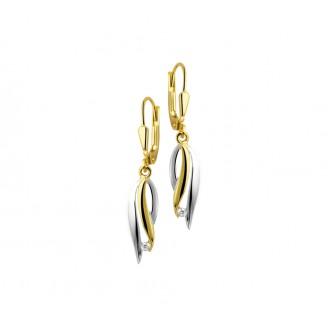 14 krt bicolour oorhangers met zirconia - 89862