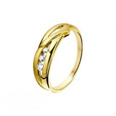 14krt gouden damesring zirconia - 87337