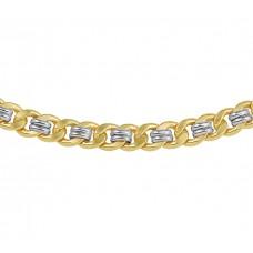 14krt Goud bicolor/zilverkern 51 cm collier - 87792