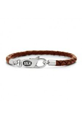 Silk bracelet silver & leather cognac - 87299