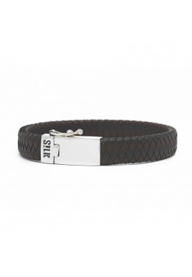 Bracelett silver & leather black/brown - 88162