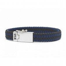 Silk bracelet silver & leather black/bleu - 87297