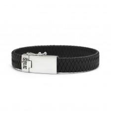 Bracelett silver & leather black - 88163
