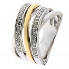 Ring zilver/goud zirconia - 87020