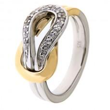 Ring zilver/goud zirconia - 87027