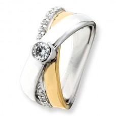 Ring zilver/goud zirconia - 87022