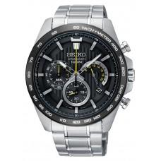 Seiko Heren chrono staal bracelet zwart - 89095